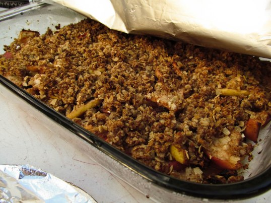 Of course we had dessert (Apple-Raisin Fruit Crisp pictured here)